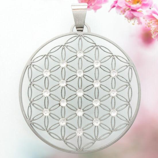 Élet Virága medál 19 fehér swarovski kővel