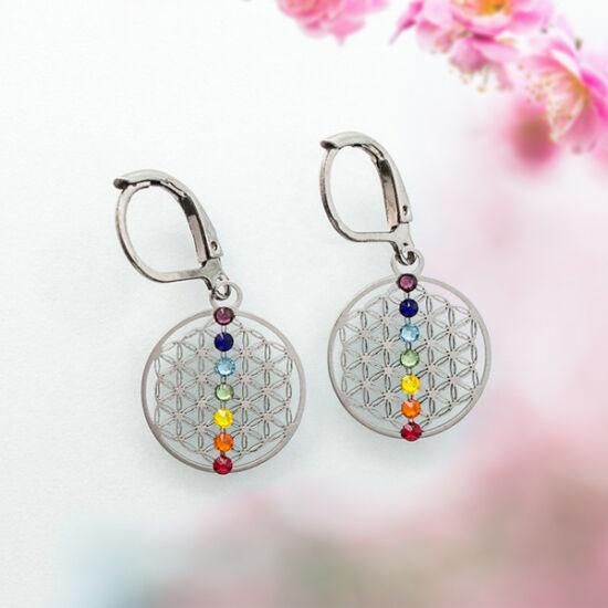 Élet virága fülbevaló 7 db színes swarovski kővel