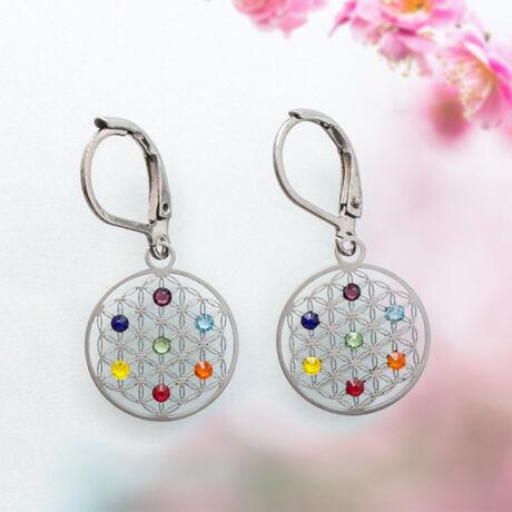 Élet virága fülbevaló - rozsdamentes acél, 7 db színes Swarovski kővel