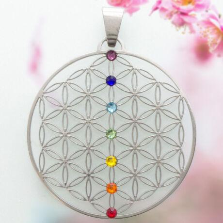 Élet Virága medál 7 db színes swarovski kővel