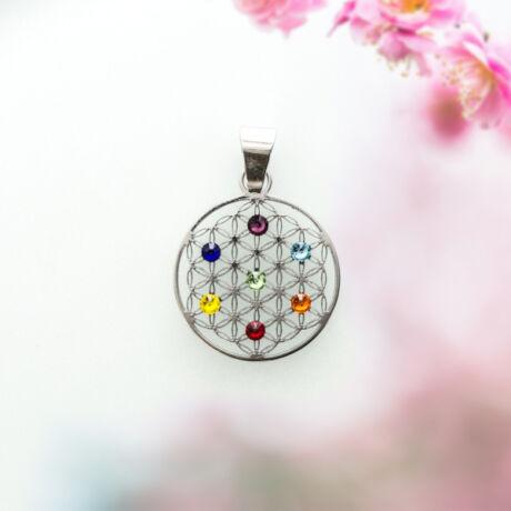 Élet Virága csakrakör medál 7 színes Swarovski kővel 15 mm