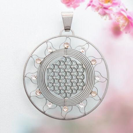 Élet virága Nap medál 12 fehér Swarovski kővel